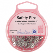 Hemline Safety Pins - 34mm long - Nickel - 30 pack